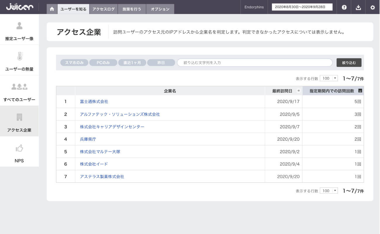 Juicerアクセス企業管理画面