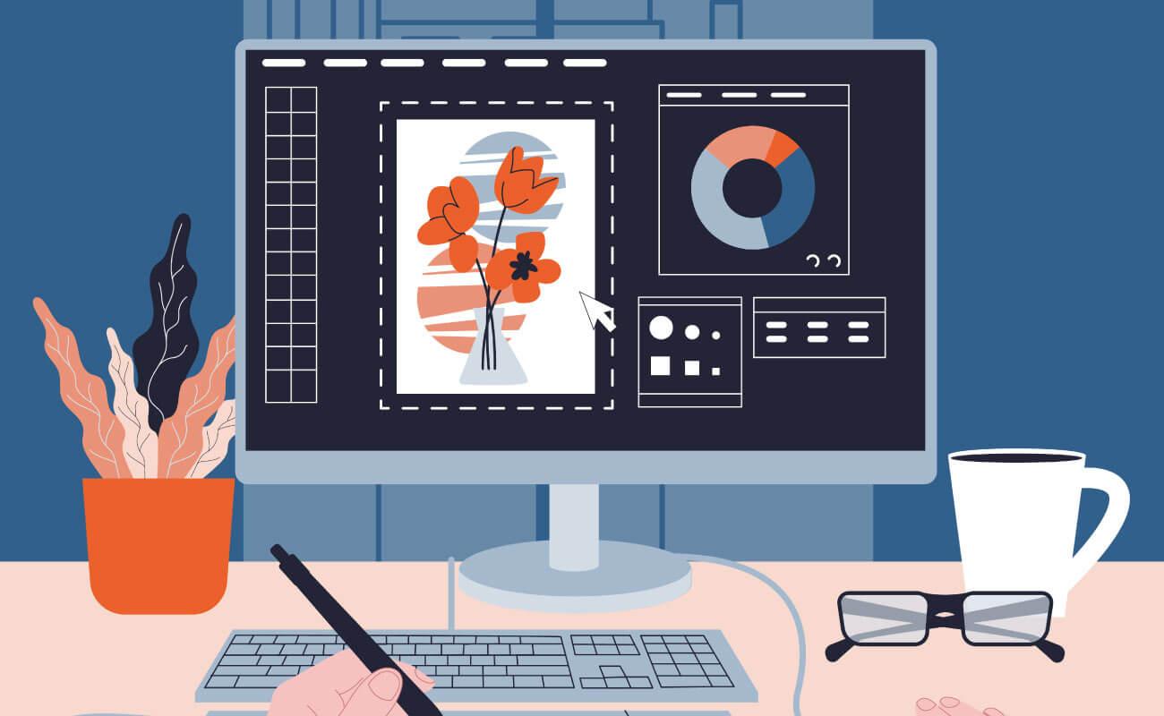 デスクトップ上のデザインに関する写真