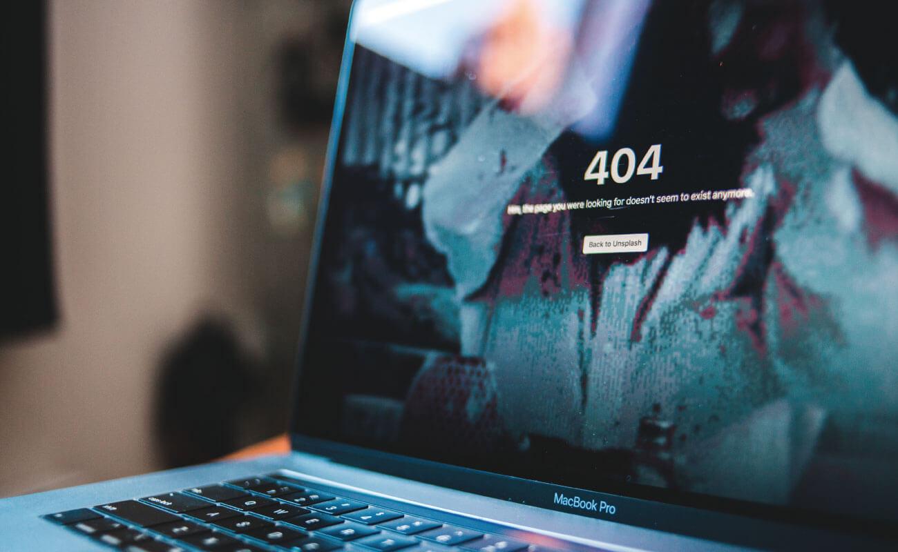 404と書かれたウェブページの写真
