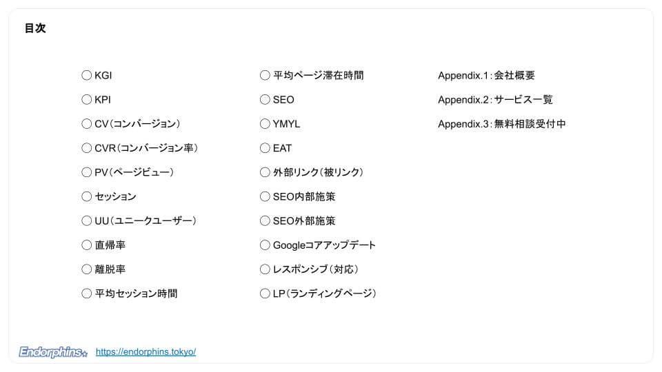 【webマーケティング初学者向け】webマーケティングの基本用語20選、目次
